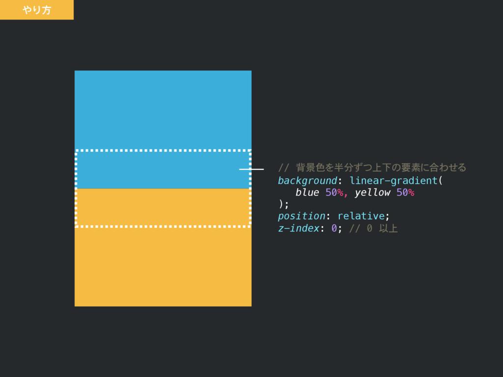 // 背景色を半分ずつ上下の要素に合わせる background: linear-gradie...