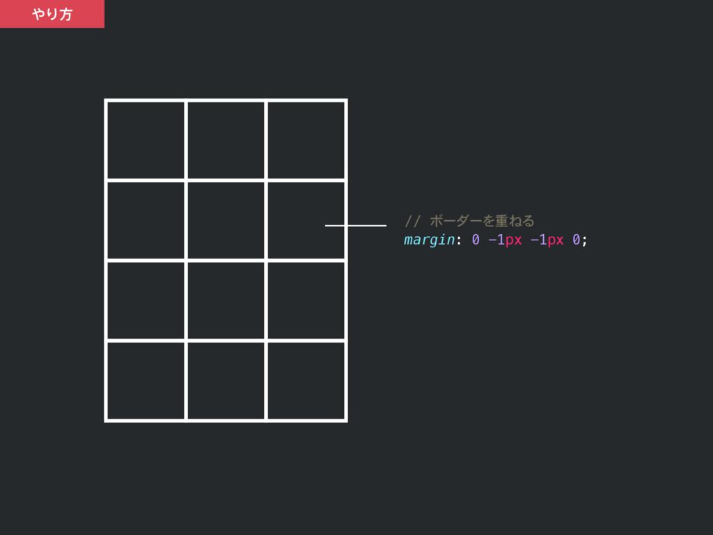 Γํ // ボーダーを重ねる margin: 0 -1px -1px 0;