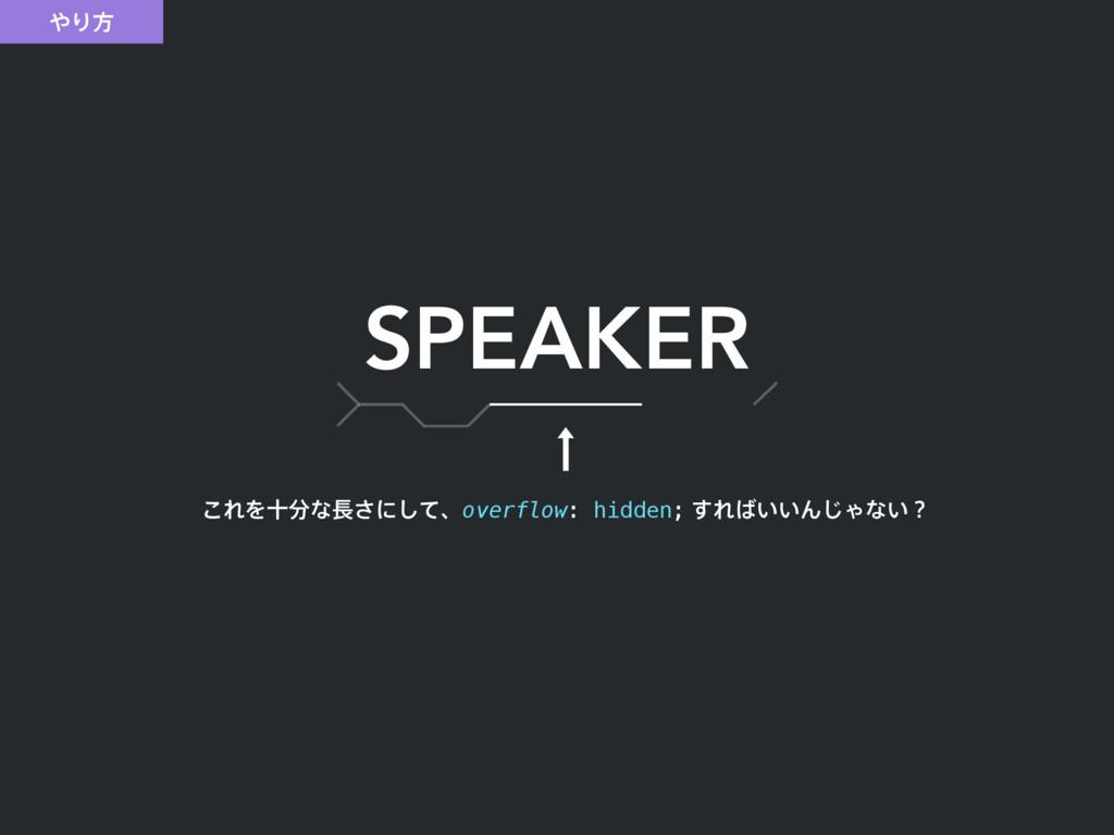 Γํ SPEAKER ͜ΕΛेͳ͞ʹͯ͠ɺoverflow: hidden;͢Ε͍͍...