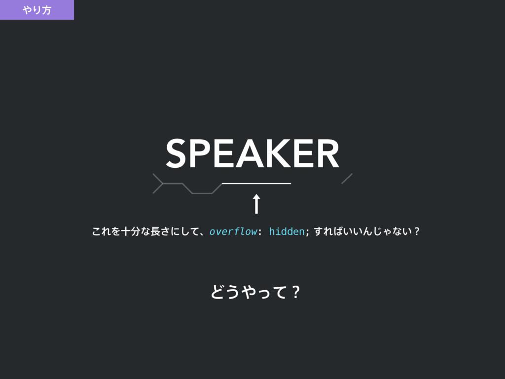 Γํ SPEAKER Ͳ͏ͬͯʁ ͜ΕΛेͳ͞ʹͯ͠ɺoverflow: hidden...