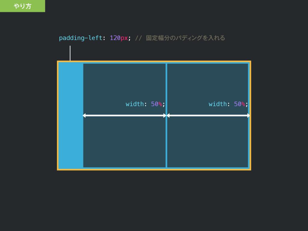 padding-left: 120px; // 固定幅分のパディングを入れる width: 5...