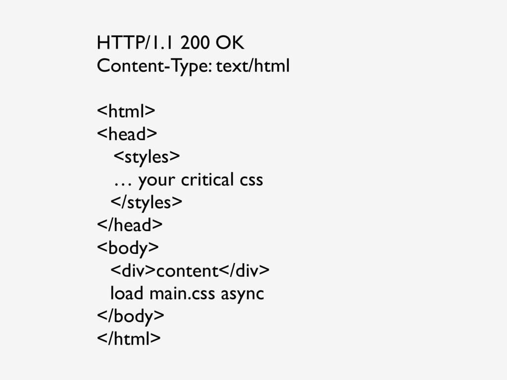 HTTP/1.1 200 OK Content-Type: text/html <html> ...