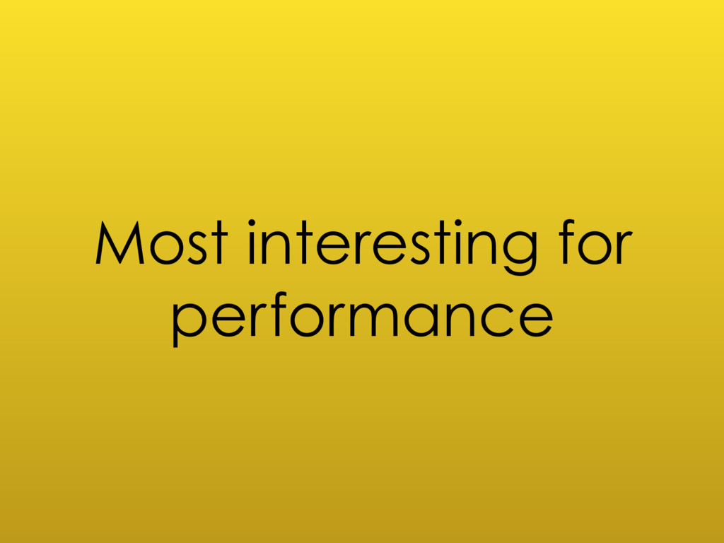 Most interesting for performance
