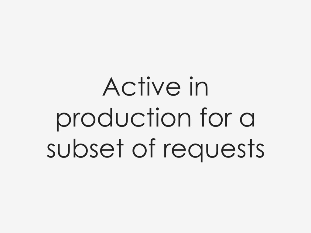 Active in production for a subset of requests