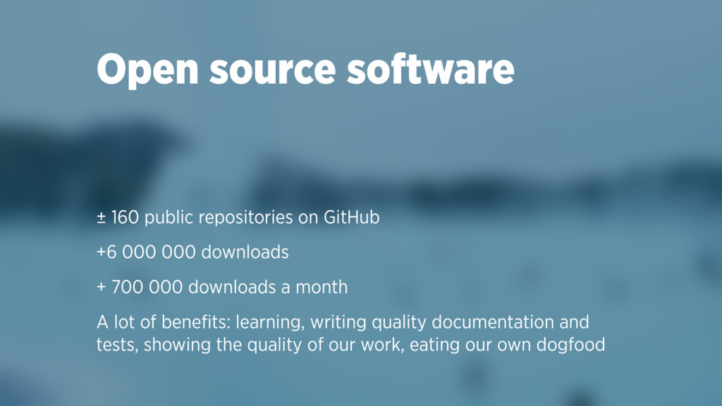 Open source software ± 160 public repositories ...