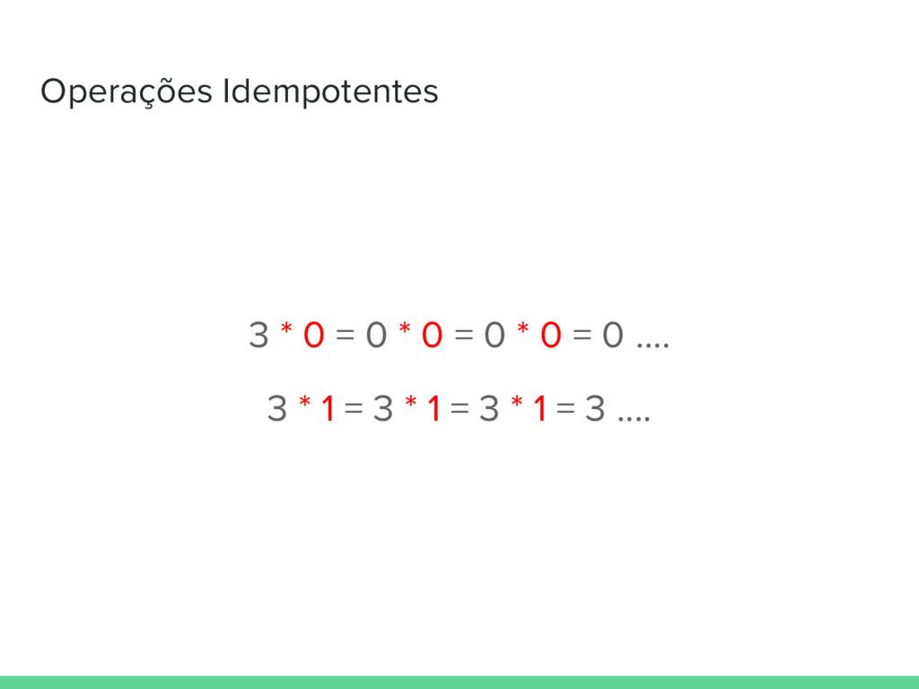 Operações Idempotentes 3 * 0 = 0 * 0 = 0 * 0 = ...