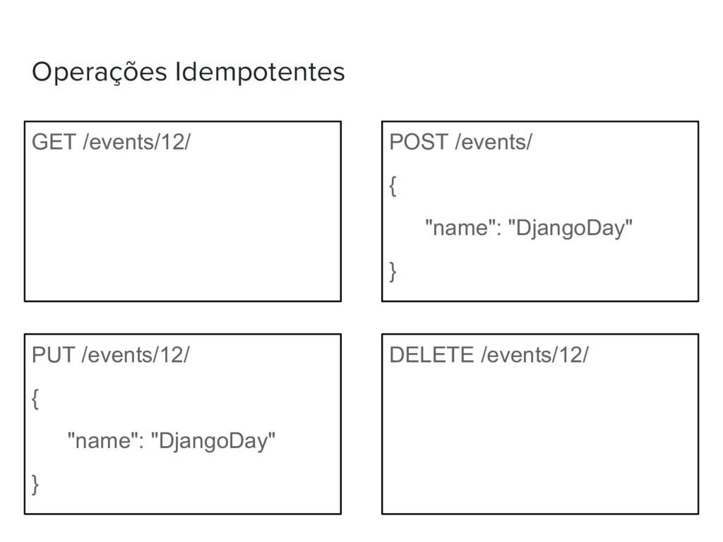 Operações Idempotentes GET /events/12/ POST /ev...