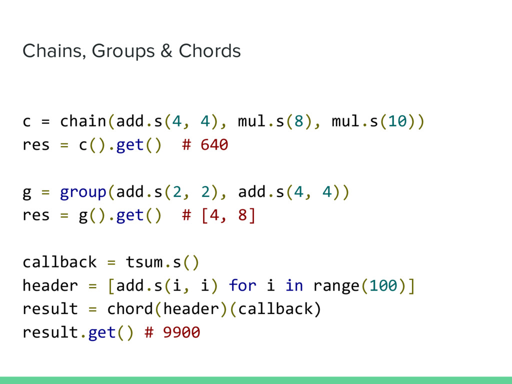 Chains, Groups & Chords c = chain(add.s(4, 4), ...