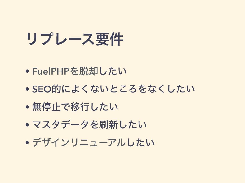 ϦϓϨʔεཁ݅ • FuelPHPΛ٫͍ͨ͠ • SEOతʹΑ͘ͳ͍ͱ͜ΖΛͳ͍ͨ͘͠ • ...