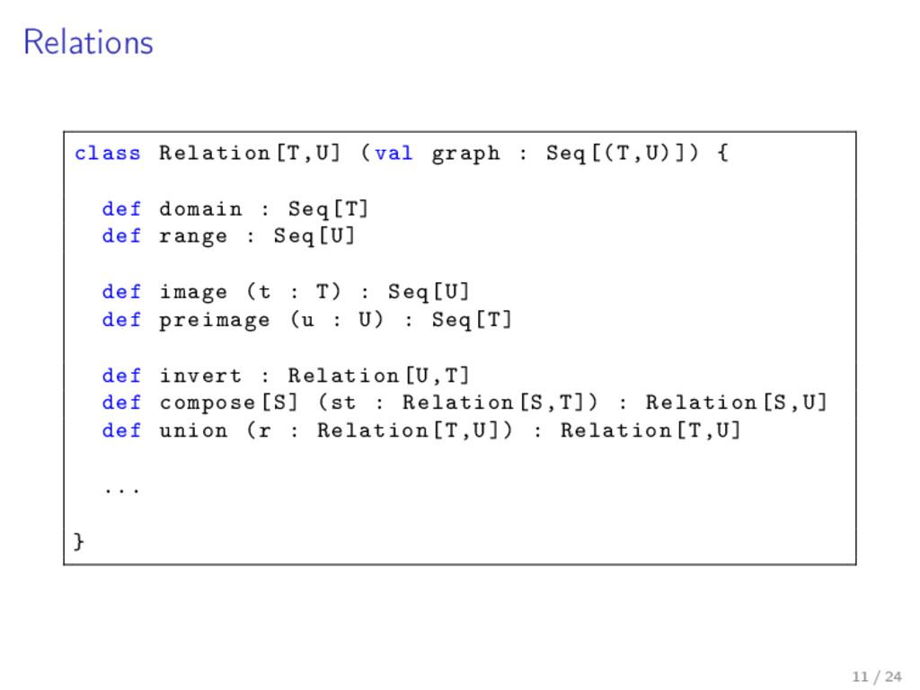 Relations class Relation[T,U] (val graph : Seq[...