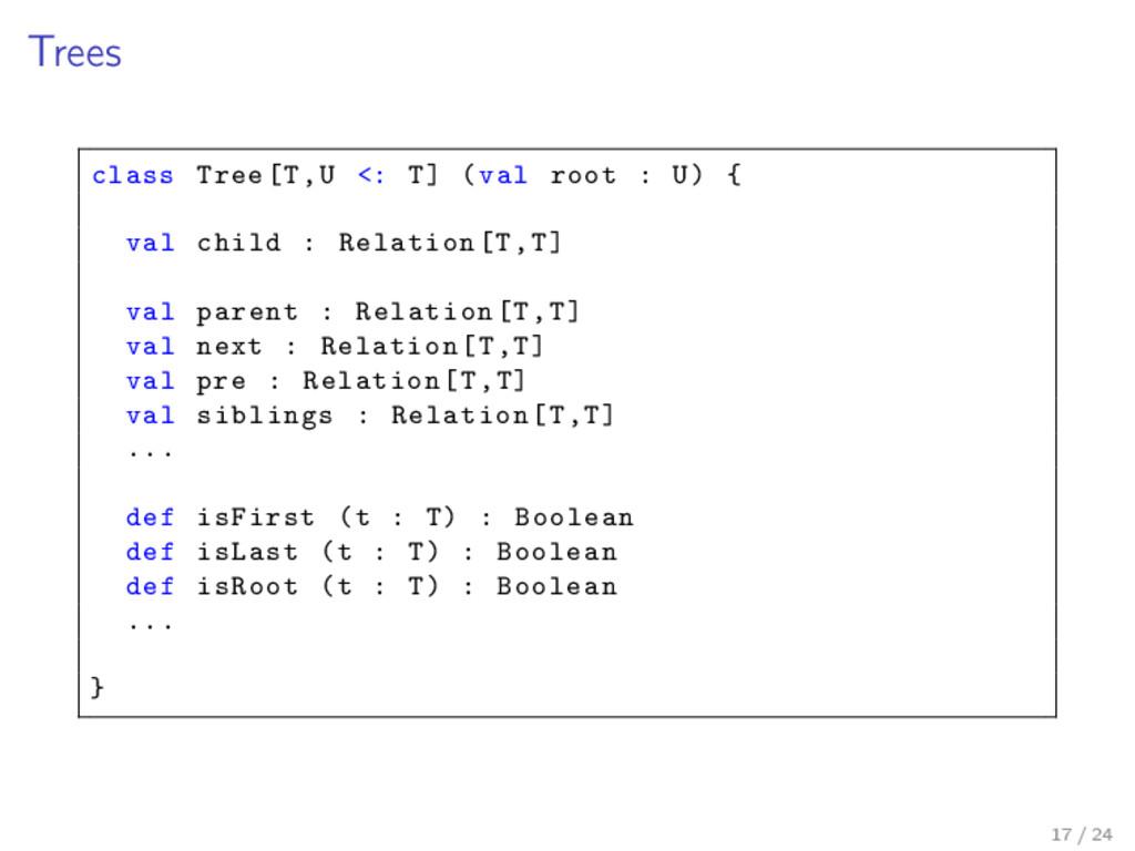 Trees class Tree[T,U <: T] (val root : U) { val...