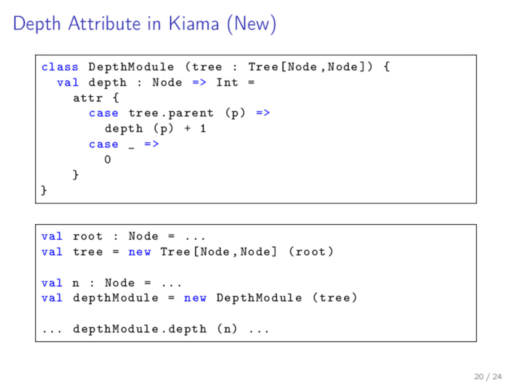 Depth Attribute in Kiama (New) class DepthModul...