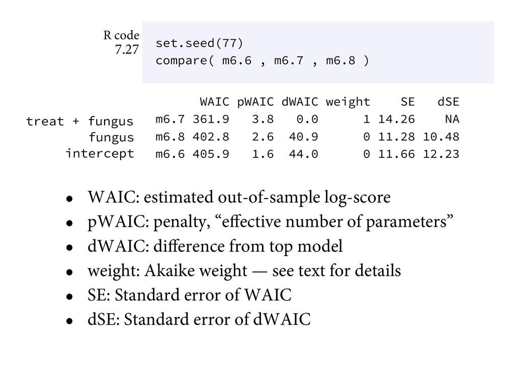 • WAIC: estimated out-of-sample log-score • pWA...