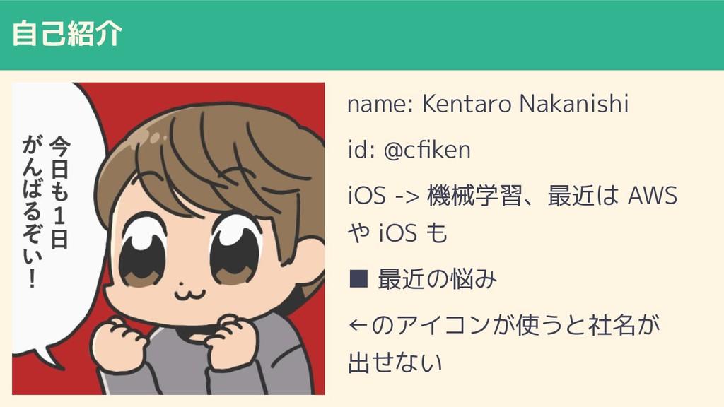 自己紹介 name: Kentaro Nakanishi id: @cfiken iOS -> ...