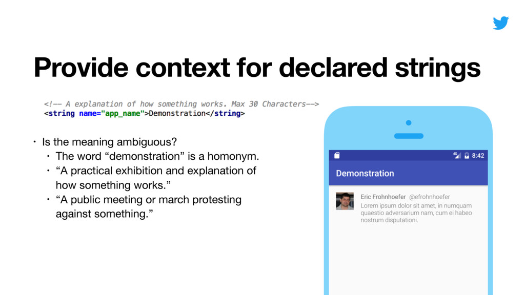 Provide context for declared strings • Is the m...