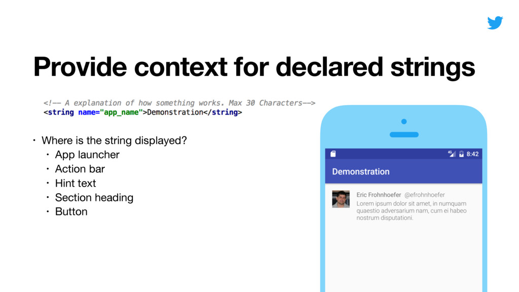 Provide context for declared strings • Where is...