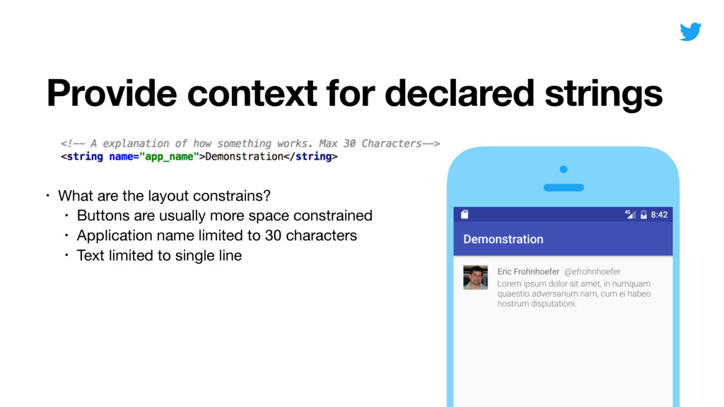 Provide context for declared strings • What are...