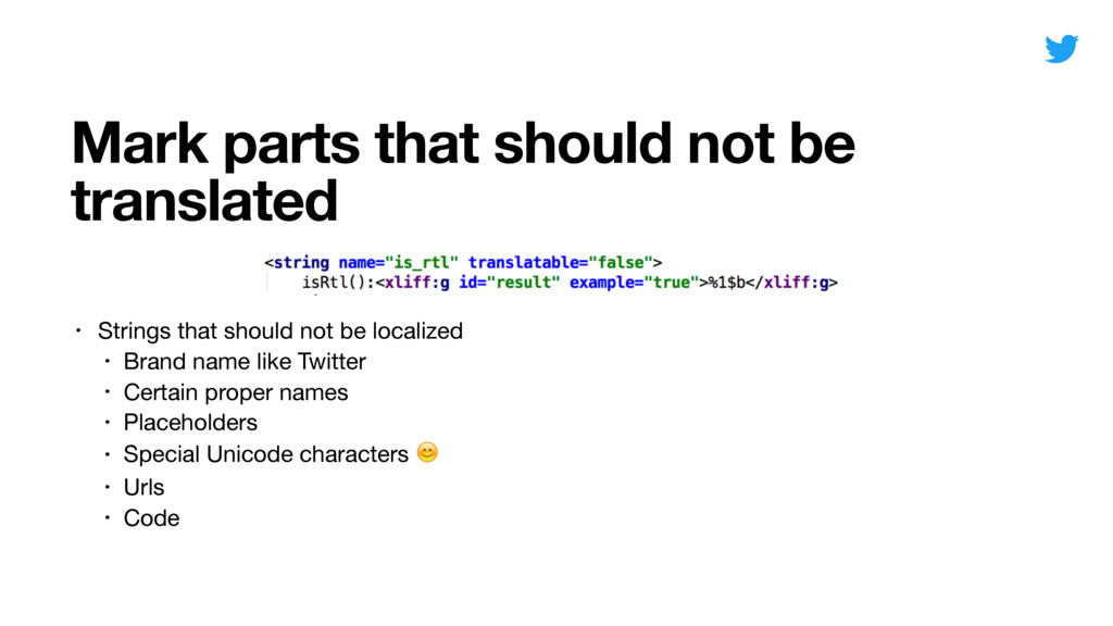 Mark parts that should not be translated • Stri...