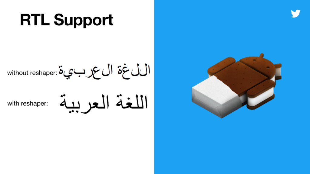 RTL Support without reshaper: with reshaper: