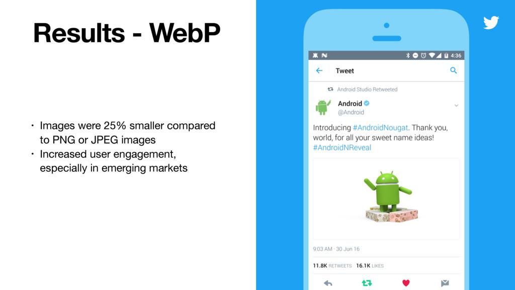 Results - WebP • Images were 25% smaller compar...