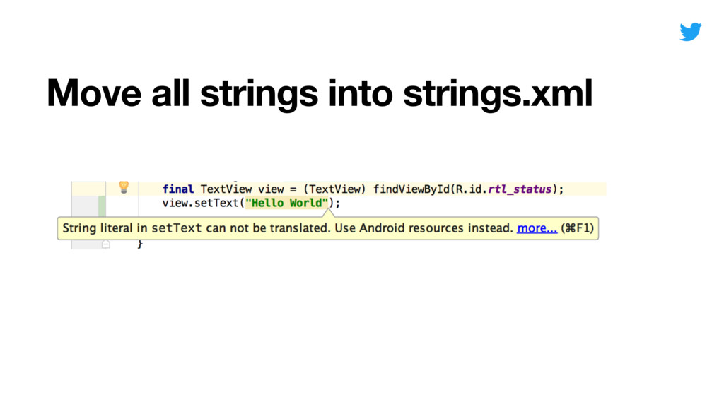 Move all strings into strings.xml