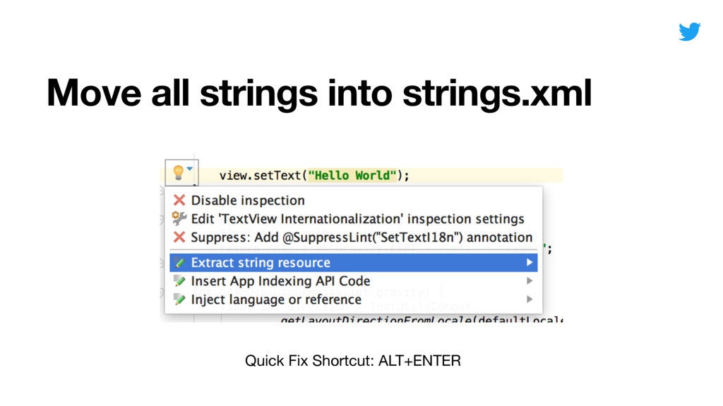 Move all strings into strings.xml Quick Fix Sho...