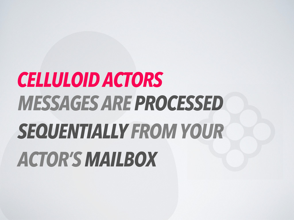  CELLULOID ACTORS MESSAGES ARE PROCESSED SEQUE...