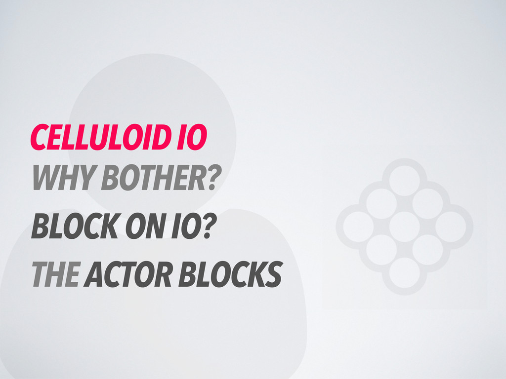  CELLULOID IO WHY BOTHER? BLOCK ON IO? THE ACT...