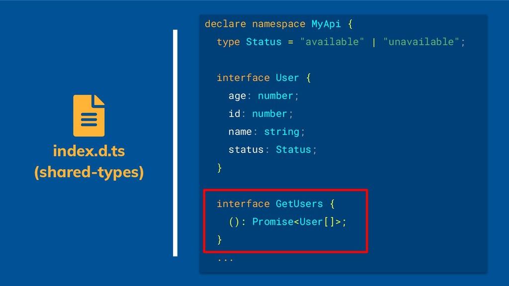 "declare namespace MyApi { type Status = ""availa..."