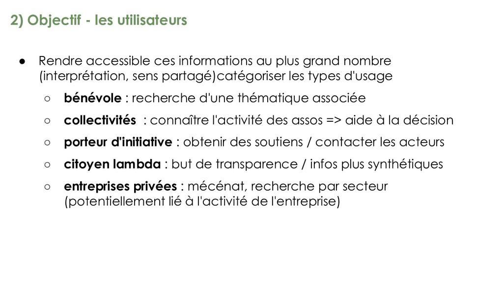 2) Objectif - les utilisateurs ● Rendre accessi...
