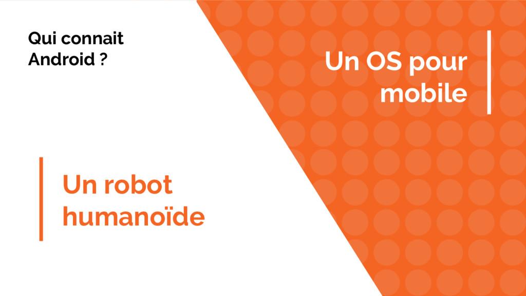 Un robot humanoïde Un OS pour mobile Qui connai...