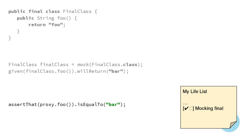 public final class FinalClass { public String f...