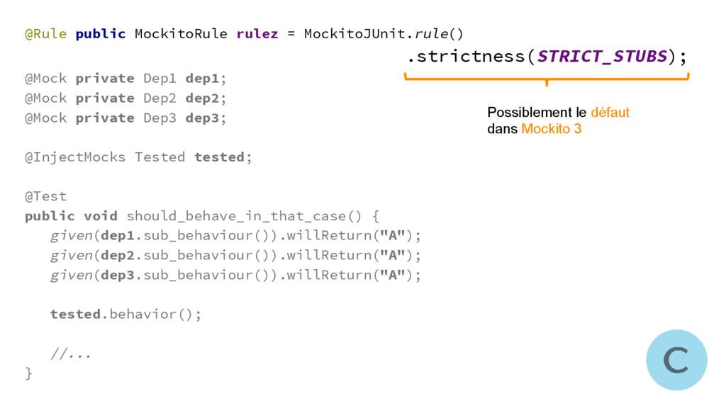 @Rule public MockitoRule rulez = MockitoJUnit.r...
