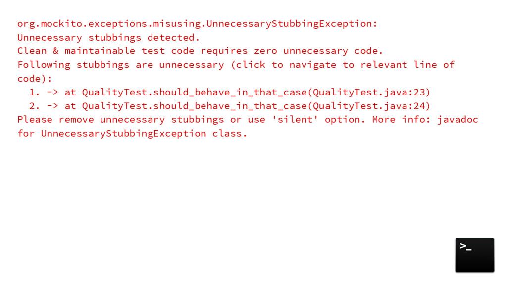 org.mockito.exceptions.misusing.UnnecessaryStub...