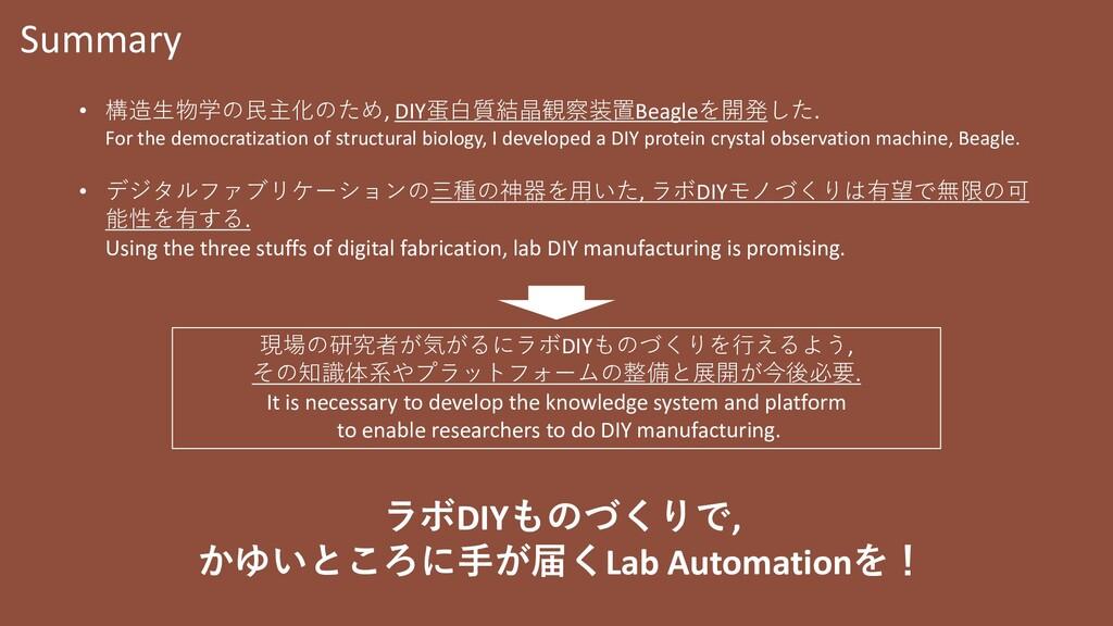 Summary • 構造生物学の民主化のため, DIY蛋白質結晶観察装置Beagleを開発した...