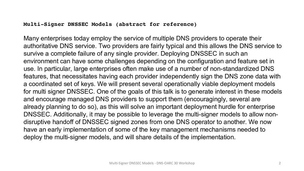 Multi-Signer DNSSEC Models (abstract for refere...
