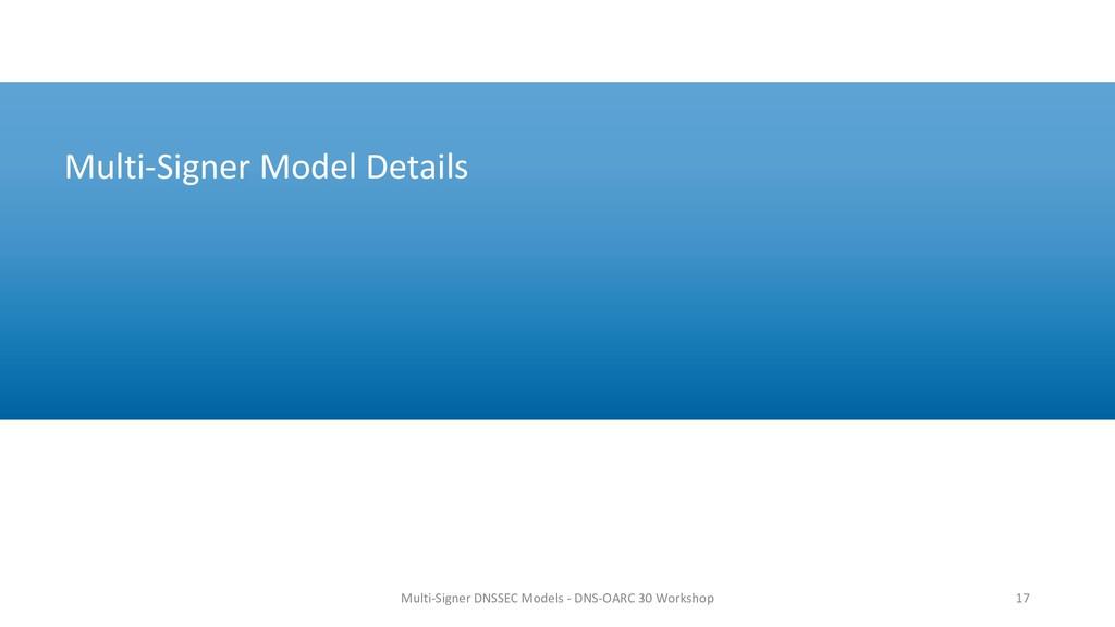 Multi-Signer Model Details 17 Multi-Signer DNSS...