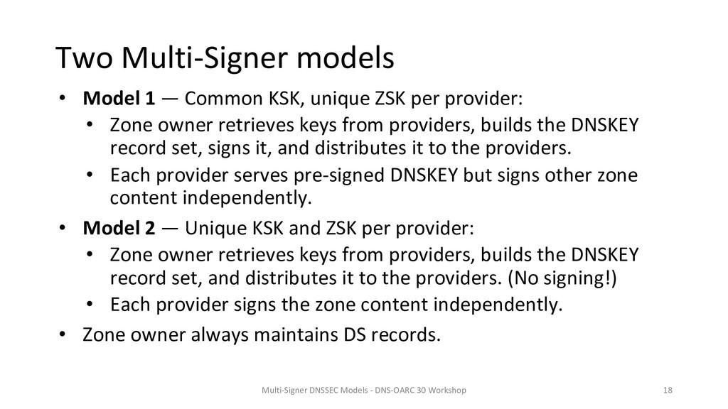 Two Multi-Signer models • Model 1 — Common KSK,...