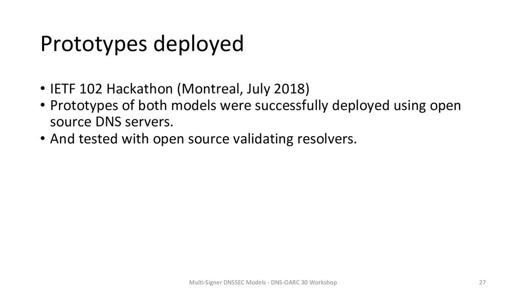 Prototypes deployed • IETF 102 Hackathon (Montr...