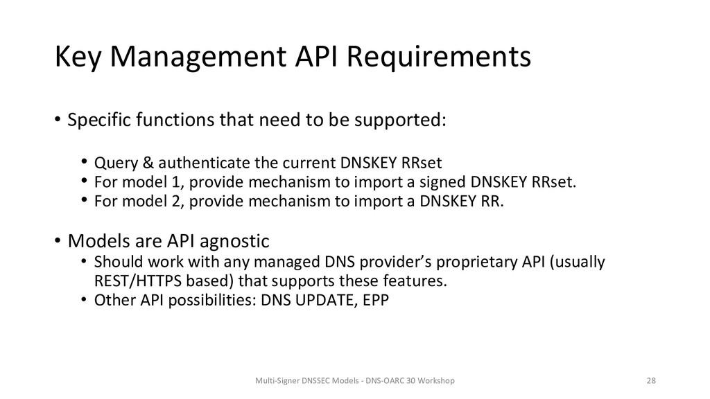 Key Management API Requirements • Specific func...