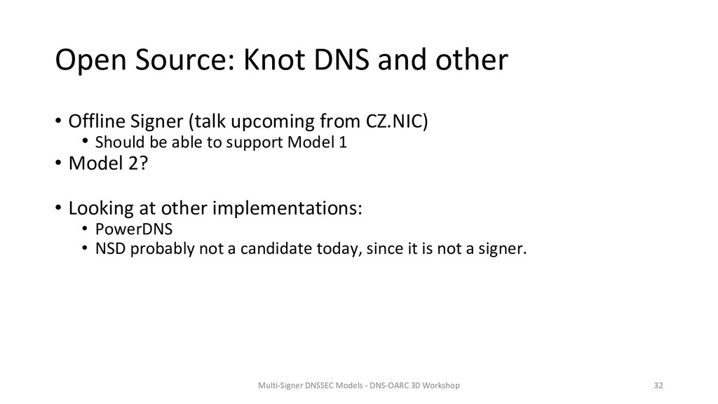 Open Source: Knot DNS and other • Offline Signe...