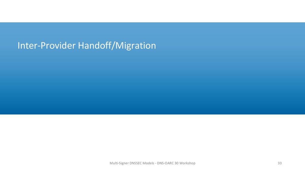 Inter-Provider Handoff/Migration 33 Multi-Signe...