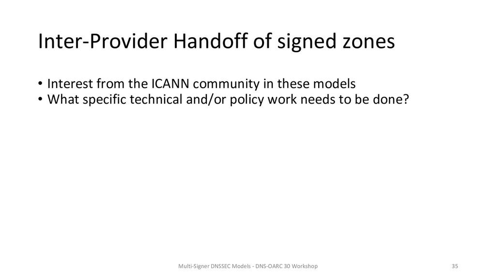Inter-Provider Handoff of signed zones • Intere...