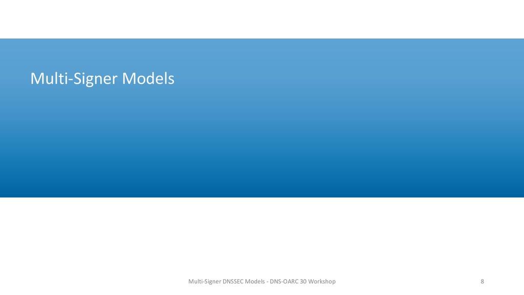 Multi-Signer Models 8 Multi-Signer DNSSEC Model...