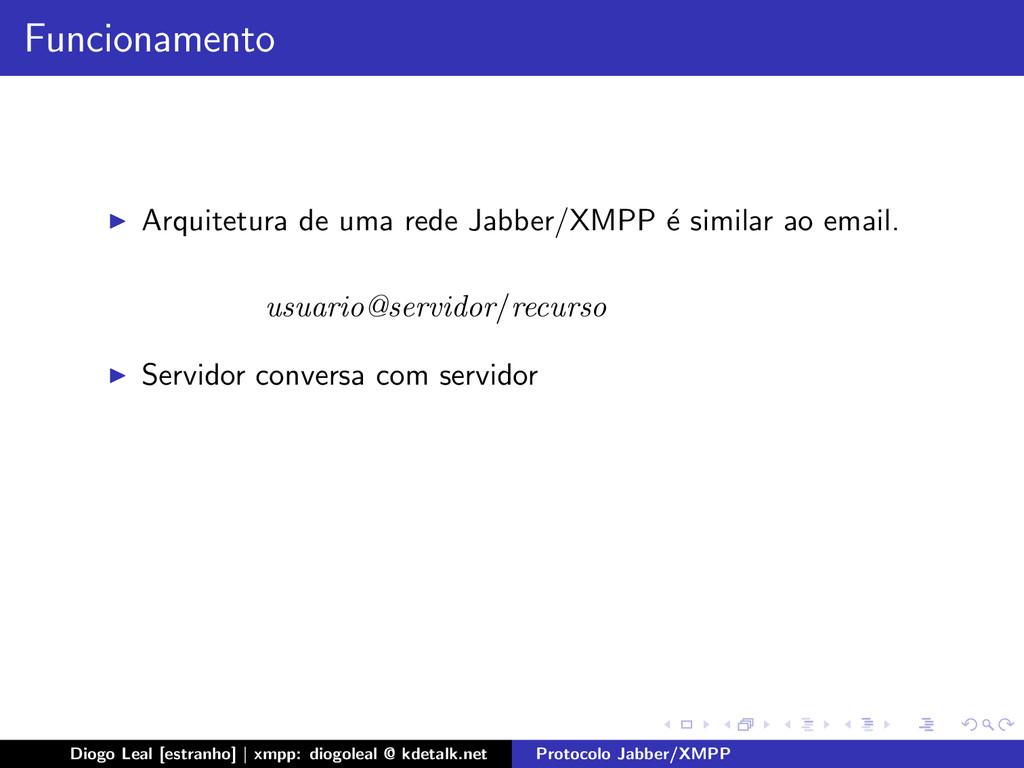 Funcionamento Arquitetura de uma rede Jabber/XM...