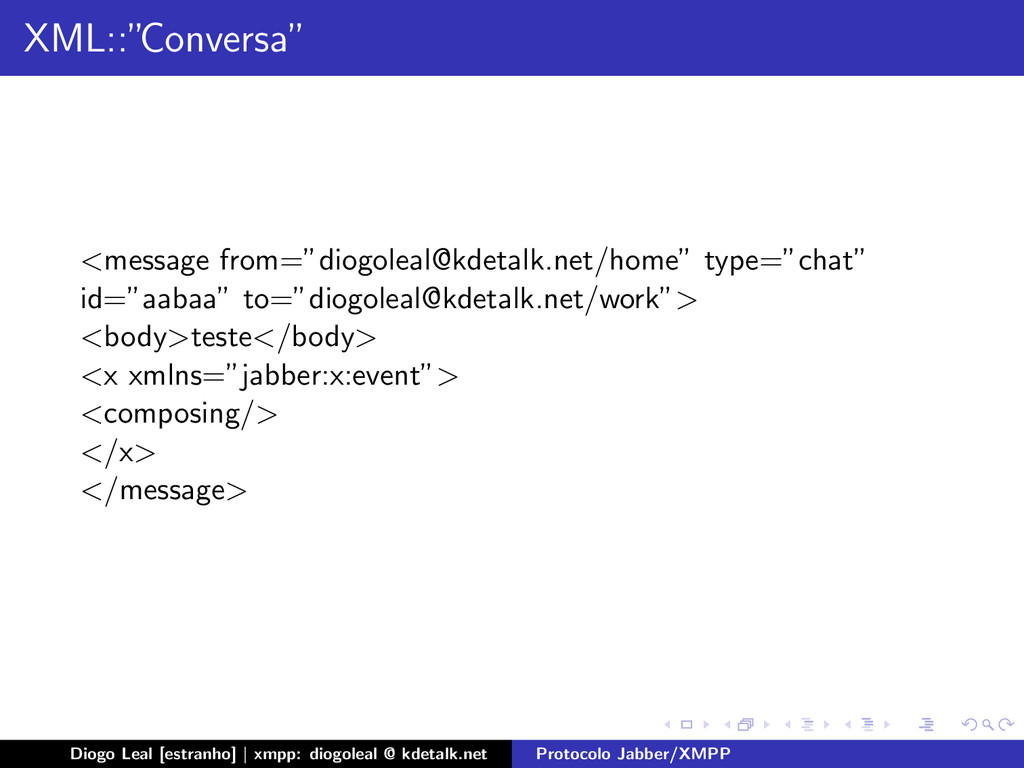 """XML::"""" Conversa"""" <message from=""""diogoleal@kdeta..."""