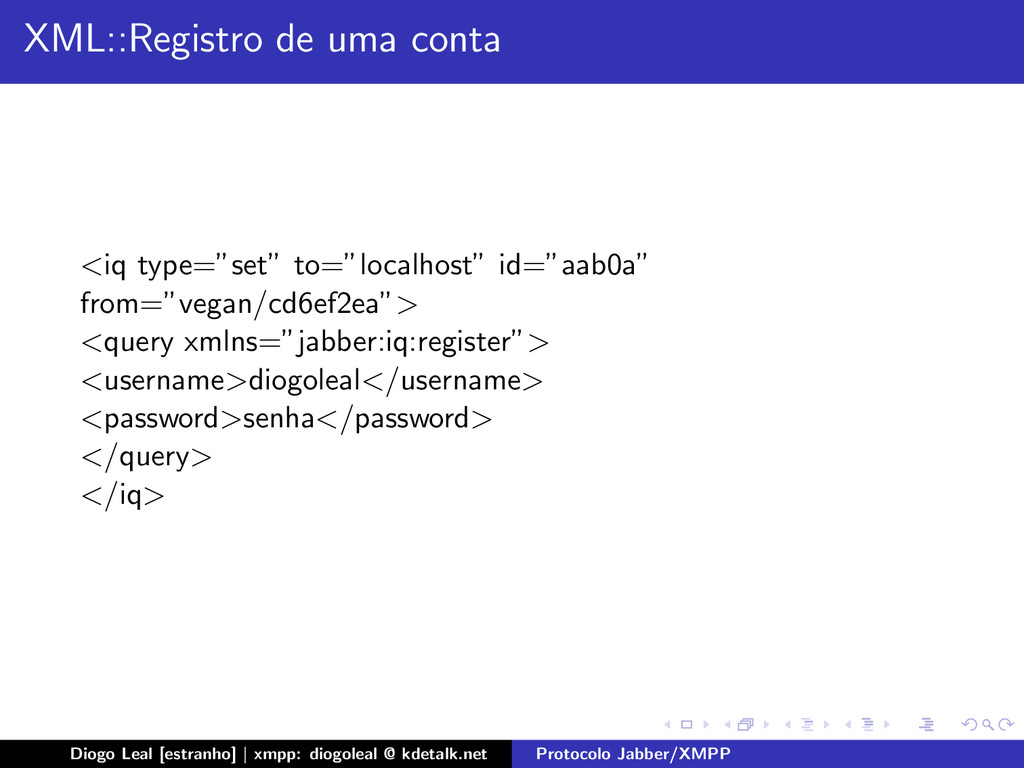 """XML::Registro de uma conta <iq type=""""set"""" to=""""l..."""