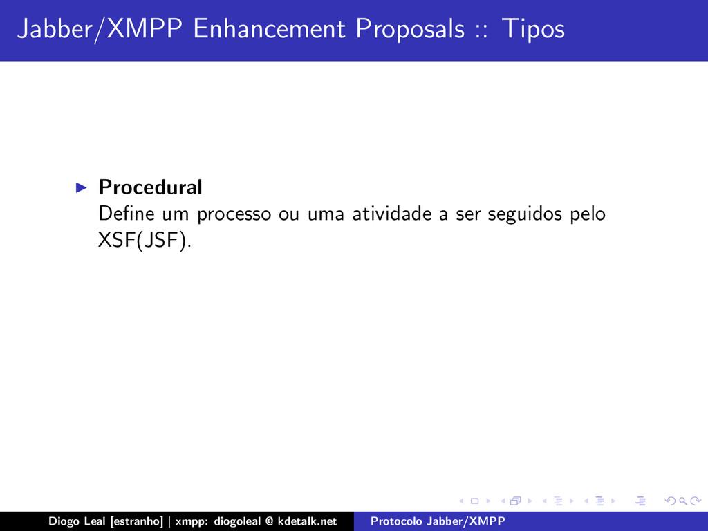 Jabber/XMPP Enhancement Proposals :: Tipos Proc...