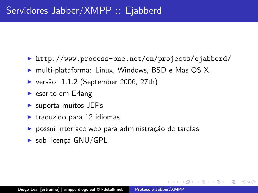 Servidores Jabber/XMPP :: Ejabberd http://www.p...