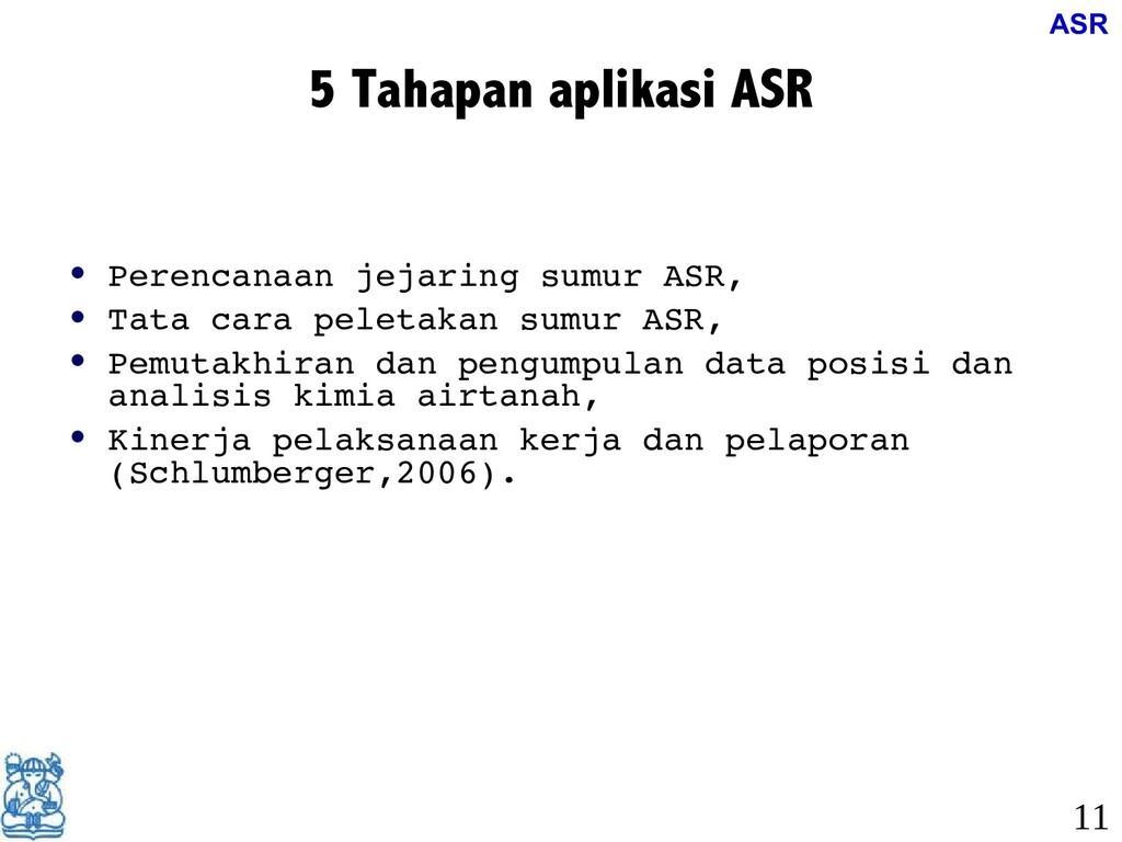 5 Tahapan aplikasi ASR • • Perencanaan jejaring...
